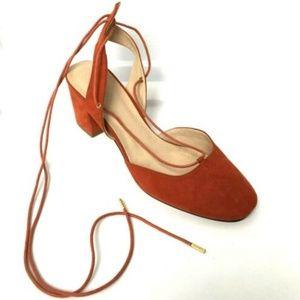 ASOS Block Heel Sandals Rusty Red Orange Fall